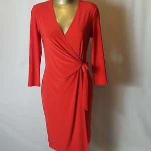 ANNE KLEIN TONATO RED WRAP DRESS